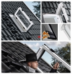 VELUX Ausstiegsfenster GXU 0070 Türfunktion Kunststoff Thermo Wohn-/Ausstiegsfenster Dachausstieg für ausgebaute Dachböden Aluminium