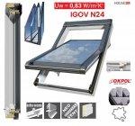 Dachfenster OKPOL IGOV N24 Uw=0,83 Kunststoff Schwingfenster 3-Scheiben ENERGIE Energiesparende ESG außen, Natürlicher Reinigungseffekt SGG Bioclean, Griff mit Schlüsse