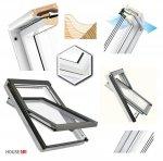Dachfenster Fakro FTU-V U5 Schwingfenster Schwingfenster aus weiß lackiertem Holz PU-Kunststoff-Lack, Dauerlüftung V40P, topSafe-System Uw: 0,97 Polyurethan-Kunststofflack erhöhter Feuchteresistenz