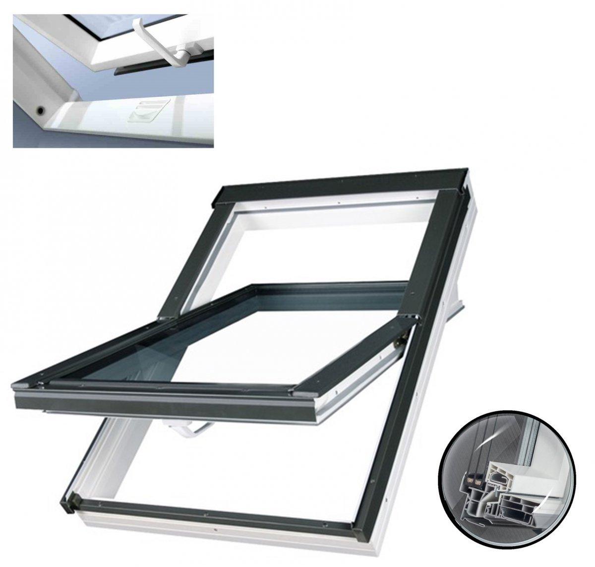 Dachfenster fakro ptp u4 3 fach verglasung schwingfenster energiesparende uw 1 1 ug 7 w m k - Dachfenster 3 fach verglasung ...