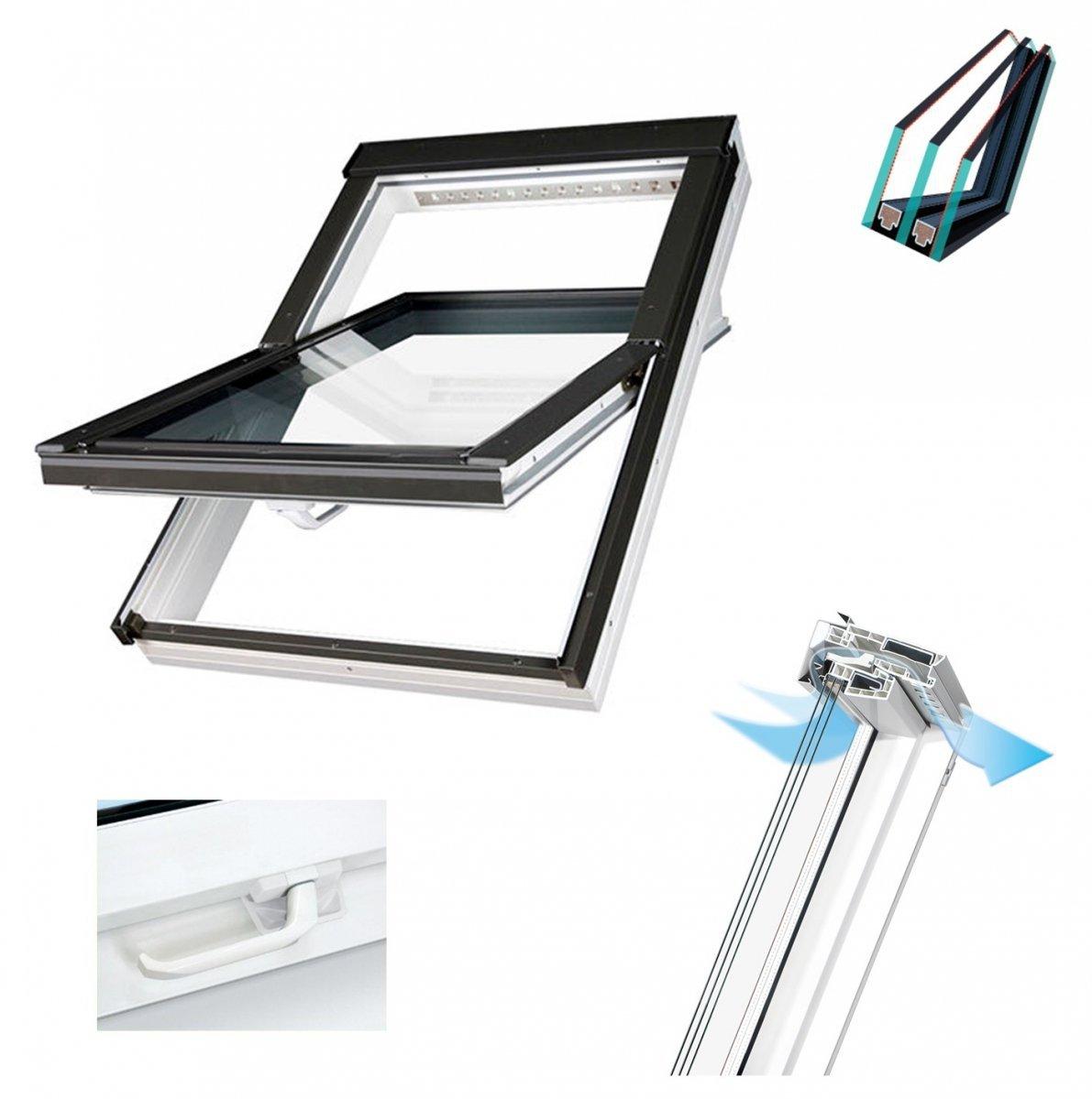 Dachfenster fakro ptp v u4 3 fach verglasung schwingfenster energiesparende uw 1 1 ug 7 w m k - Dachfenster 3 fach verglasung ...