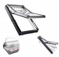 OUTLET: Dachfenster Roto Designo R7 Hoch-Schwingfenster R79 K 78x140 + Eindeckrahmen EDR ZIE 3-fach-Verglasung Uw-Wert 1,1 ENERGIE Kunststoff PVC mit Wärmedämmblock