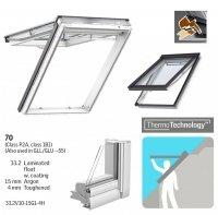 Dachfenster VELUX GPU 0070 Klapp-Schwingfenster Kunststoff-Fenster mit Riesen-Öffnungswink<br />el THERMO Verglasung 2-fach - Verglasung _ _70 ESG außen, VSG innen