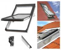 Dachfenster OKPOL PVC NK Uw= 1,4 Schwingfenster Kunststoff-Dachfenst<br />er PVC Profile in Weiß Dachfenster mit Dauerlüftung