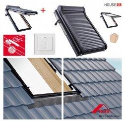 Dachfenster-Set Roto R88C H200 + ZRO EF Holz Schwingfenster mit Elektro Außenrollladen gesteuert von der Fernbedienung