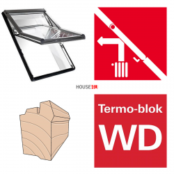 Dachfenster Roto Designo R75 H WD 07/11 78x118 Uw= 1,3 Hoch-Schwingfenster aus Holz blueLine mit Wärmedämmblock