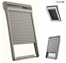 RoofLITE+ SSR Außenrollladen Aluminium INTEGRA® Solar- Rollladen Dunkelgrau inkl. Fernbedienung / Funk-Wandschalter, Kompatibilität mit dem VELUX io-homecontrol® System (INTEGRA®)