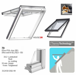 Dachfenster VELUX GPU 0070 Klapp-Schwingfenster Kunststoff-Fenster mit Riesen-Öffnungswinkel THERMO Verglasung 2-fach - Verglasung _ _70 ESG außen, VSG innen, Verbundsicherheitsglas