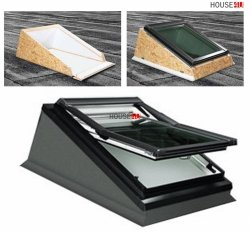 Roto Designo Einbaurahmen Flachdach EBR FLD EBR Rx WD 1x1 FLD AL Flachdach Einbaurahmen für Designo Wohndachfenster Einzeleinbau, 1x1, ROTO Dachfenster-Zubehör