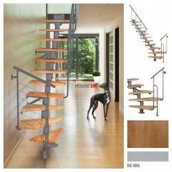 Treppen Atrium DIXI PLUS Weißaluminium 11 Stufen Natürliche Erle modular Systemtreppen