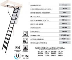 OUTLET: Bodentreppe OMAN SOLID TERMO 110x70 Dachbodentreppe mit Metallleiter  U=1,22 max Belastung bis 210 kg weiße Öffnungsklappe Raumhöhe 280 Versand 48H