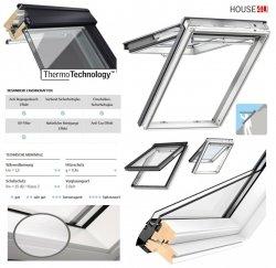 VELUX Klapp-Schwingfenster GPL 2070 2-fach Uw =1,3 THERMO Holz/Kiefer weiß lackiert, Rw=35 dB, Anti-Regengeräusch-Effekt, Verbund-Sicherheitsglas: Außenscheibe ESG,Innenscheibe VSG, weiß Fenster