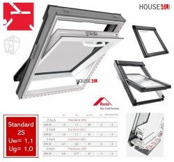 Roto Q4 Standard Schwingfenster aus Kunststoff Q-4 K2S P5 2-fach PVC Uw= 1,1 Aluminium