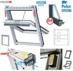 Elektro-Dachfenster Keylite PVC PCP ATG SEK Standard Elektrofenster mit Wandmontierter Schalter 3-fach-Verglasung Uw= 1,1 Schwingfenster aus Kunststoff Weiß PVC mit Wärmedämmblock