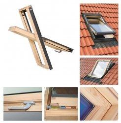 Dachfenster 78x98 Holz-Fenster Oman SELECT EN Uv =1,3 W/m² Oman Schwingfenster klar lackiert incl. Eindeckrahmen