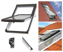 Dachfenster OKPOL PVC NK Uw= 1,4 Schwingfenster Kunststoff-Dachfenster PVC Profile in Weiß Dachfenster mit Dauerlüftung