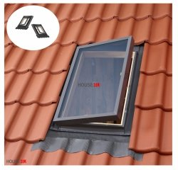 OUTLET: Ausstiegsfenster VELUX VELTA VLT 033 85 x 85, Dachluke links und rechts, Skylight für unbeheizte Räume, Dachausstiegsfenster,  Drehfenster, Skylight für unbeheizte Räume,  Kaltraumfenster, Eindeckrahmen integriert mit Ausgangsfenster