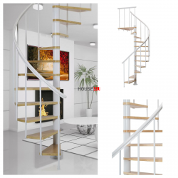Spindeltreppe Dolle Calgary - Ø 140 - 280,80 cm 11 Stufen Weiss