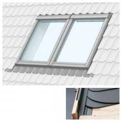 Doppelte Eindeckrahmen Velux EBS um Einbau von Fenstern mit einem Abstand von 18 mm Für Flachdachmaterialien mit einer Dicke von bis zu 16 mm (2 x 8 mm) für Bitumenschindel, Dachpappe, Metallblech Bitumenschindel, Dachpappe