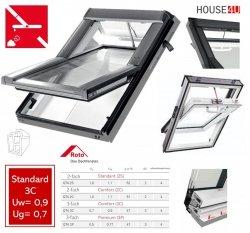 Roto Dachfenster Q4 Comfort Tronic QT4 K3C P5E Kunststoff Schwingfenster Elektrisch 3-fach Verglasung Uw-Wert: 0,9  Aluminium