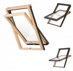 Dachfenster Schwingfenster KEYLITE BW 2-fach-Verglasung Thermal Uw=1,3 Dachfenster aus Holz: klar lackiert / Boden-Griff - alle Größen