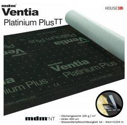 Dampfsperbahn MDM®  Ventia Platinium Plus TT Dreischichtig mit einem Gewicht von ca. 225 g / m² und einer Dicke von 800 µm, Wert Sd=0,004 m.Mit integriertem Kleberstreifen auf beiden Kanten – Version TT