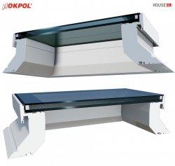 Flachdach-Fenster OKPOL EGX ECO A1 90x120  PVC Festverglastes Uw=1,2 W/m²K/ Flachverglasung, 2-15°, ohne kuppel, internes Verbundglas (P2A-Klasse) - Bestpreis !