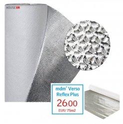 Dampfsperrbahn Dampfbremsfolien mdm® Verso Reflex Plus - Aktiven Dampfbremse - Vier-Lagig mit einer aktiven Dampfbremse - Wasserdicht bei einem Druck von 2 kPa. Gewicht: ca. 77 g/m2; Dicke von 400 μm / 1,5 x 50 m