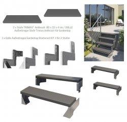 Dolle Außentreppe Gardentop mit TRIMAX®-Stufen 80 cm in Anthrazit / abgeschlossenes Set + zusätzlich nächster Stufen staz