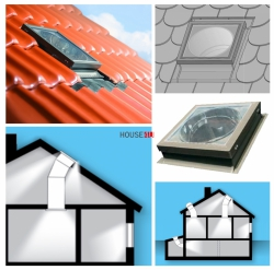 FAKRO Tageslicht-Spot SRZ-L Durchmesser ∅ 350 550 mit starrem Rohr mit Eindeckrahmen, für profilierte Dacheindeckungen bis zu 45mm / L - mit zusätzlicher Lichtfunktionund - Direktbelichtung des Dachgeschosses