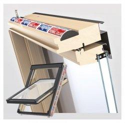 Dachfenster Schwingfenster KEYLITE Flick Fit FF CP 2-fach-Verglasung Thermal Uw=1,2 Dachfenster aus Holz: klar lackiert Boden-Griff