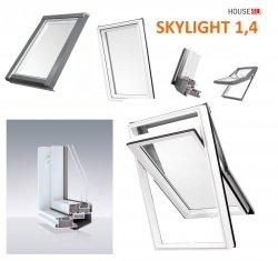 Dachfenster DOBROPLAST AFG SKYLIGHT Schwingfenster Kunststoff - Profil PVC Weiß Uw= 1,4 Dachschwingfenster 2-fach Verglasung 7043 8019 RAL Boden-Griff
