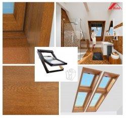 Dachfenster Designo WDF R45 K WD AL PVC, goldenes Eichenfurnier Uw=1,3 Roto R4 blueLine Schwingfenster aus Kunststoff mit Wärmedämmblock