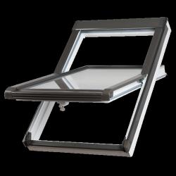 OUTLET: Dachfenster Okpol BGOV 66x98 VGO E2 (PVC) Uw= 1,4 Schwingfenster Kunstoffenster PVC Profile in Weiß