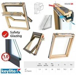 Dachfenster Keylite TCP HT HI-Therm Schwingfenster aus Holz Weiß 2-fach-Verglasung Uw= 1,3 THERMO Standard - Verglasung _ _70, Bad-Dachfenster, Verbundsicherheitsglas, ESG außen, VSG innen, Aluminium