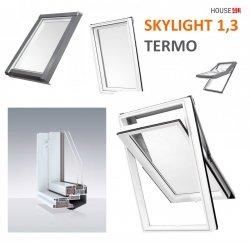 Dachfenster DOBROPLAST AFG SKYLIGHT TERMO Schwingfenster Kunststoff - Profil PVC Weiß Uw= 1,3 Dachschwingfenster 2-fach Verglasung 7043 8019 RAL Boden-Griff