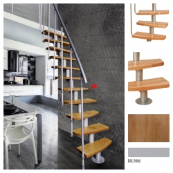 Treppen Atrium Mini PLUS Weißaluminium 11 Stufen Natürliche Erle modular Systemtreppen