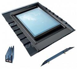 Dachfenster OKPOL IGX F1 78x98 PVC aus Weiß Kunststoff 4-FACH VERGLASUNG Uw=0,79 + GUMMIFLANSCH RESET integriert Eindeckrahmen - FESTSTEHENDES FENSTER - MONTAGE 5-90°