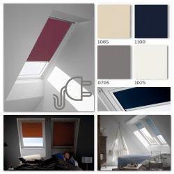 VELUX DML Premium INTEGRA® Elektro-Verdunkelungsrollo für VELUX Dachfenster, Pick&Click ®-Systems, dreilagigen Oeko-Tex®-Stoff