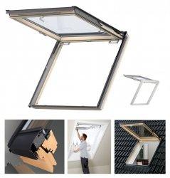 VELUX Dachfenster GTL 3050 Uw=1,3 Holz Wohn- und Ausstiegsfenster mit Klapp-Schwing-Funktion klar lackiert THERMO standard, Aluminium