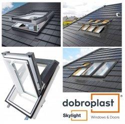 Dachfenster DOBROPLAST PCV SkyLight PREMIUM Uw= 1,4 Schwingfenster Kunststoff - Profil PVC Weiß incl. Eindeckrahmen Dachschwingfenster  2-fach Verglasung