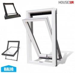 BALIO Dachfenster APB 78x112 cm Schwingfenster Kunststoff-fenster PVC Profile in Weiß, Wohndachfenster THERMO Uw= 1,4 mit 2-fach Verglasung mit Untenbedienung (Boden-Griff) RAL 7043, incl. Universal - Eindeckrahmen 0-50mm