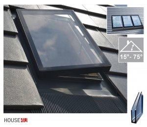 Ausstiegsfenster Skylight WVR V6 47x73 cm für unbeheizte Räume, nach seitlich öffnend (links oder rechts) mit integrated EPDM RESET Eindeckrahmen RAL 7022, Dachziegelhalterung, 15°-75°, Kombi-Option