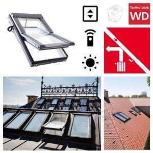 Dachfenster Elektrofenster Roto R48K K2E (WDT R48 K WD E_) RotoTronic Kunststoff Automatische Fenstern 2-fach Verglasung mit Verbundglas, incl. Regensensor, Verbundsicherheitsgl<br />as, ESG außen, VSG innen, Inneschiben laminiert, mit WD-Thermoblock