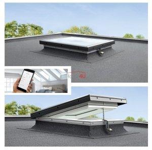 VELUX Flachdach-Fenster CVP 0673QV Basiselement - elektrisch, einbruchssicher für elektrisch öffnendes Kunststoff-Isoliergl<br />as