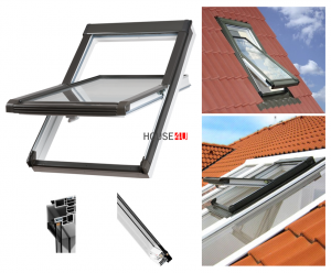OUTLET: Dachfenster OKPOL PVC NK 94X140 Uw= 1,4 Schwingfenster Kunststoff-Dachfenst<br />er PVC Profile in Weiß
