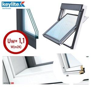Dachfenster Schwingfenster KEYLITE BW modernen weißen Oberfläche 3-fach-Verglasung ATG Uw=1,1 Dachfenster aus Holz: Weiss lackiert, Acryllack weiß farbe/ Boden-Griff, Mikrobelüftungsfunk<br />tion, Aluminium, lackiert, RAL 7043