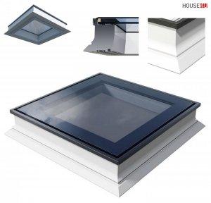 OUTLET: Flachdach-Fenster OKPOL PGX A1 140x140 PVC Festverglastes Uw=1,1 W/m²K/ Flachverglasung , Innenscheibe aus Verbundglas, Tageslicht für flache Dächer ohne kuppel Versand 48H