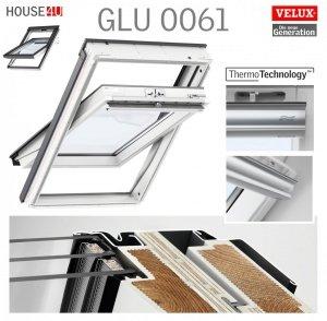 VERSAND 48H VELUX Dachfenster GLU 0061 SK08 114x140 3-fach-Verglasung Uw= 1,1 ENERGIE Schwingfenster Kunststoffqualität mit Dauerlüftung ThermoTechnology