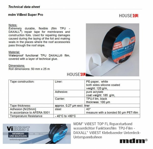 MDM® ViBEST SUPER PRO Extrem langlebiges 50 mm x 25m, flexibles (TPU-Film - DAXALL®) Reparaturband für die Verklebung von Unterspann- Unterdeckbahnen, ViBEST Klebebaender Unterdeck-Unterspannbahnen